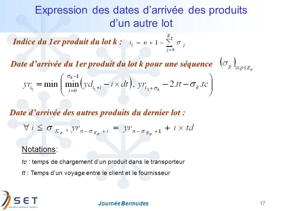 Expression des dates d'arrivée des produits d'un autre lot