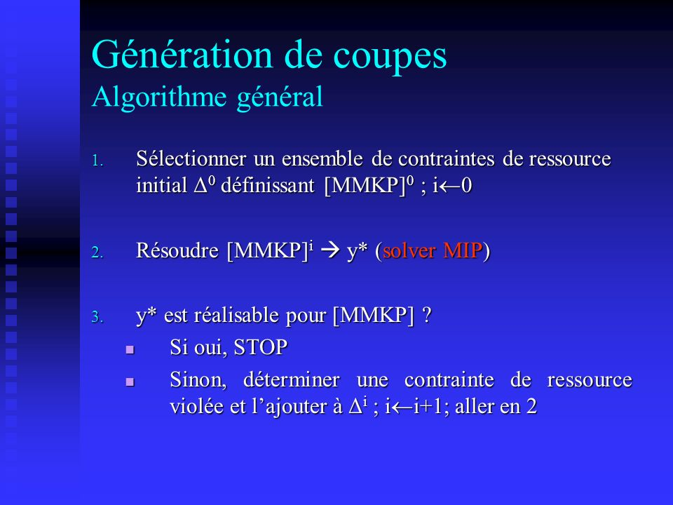 Génération de coupes Algorithme général
