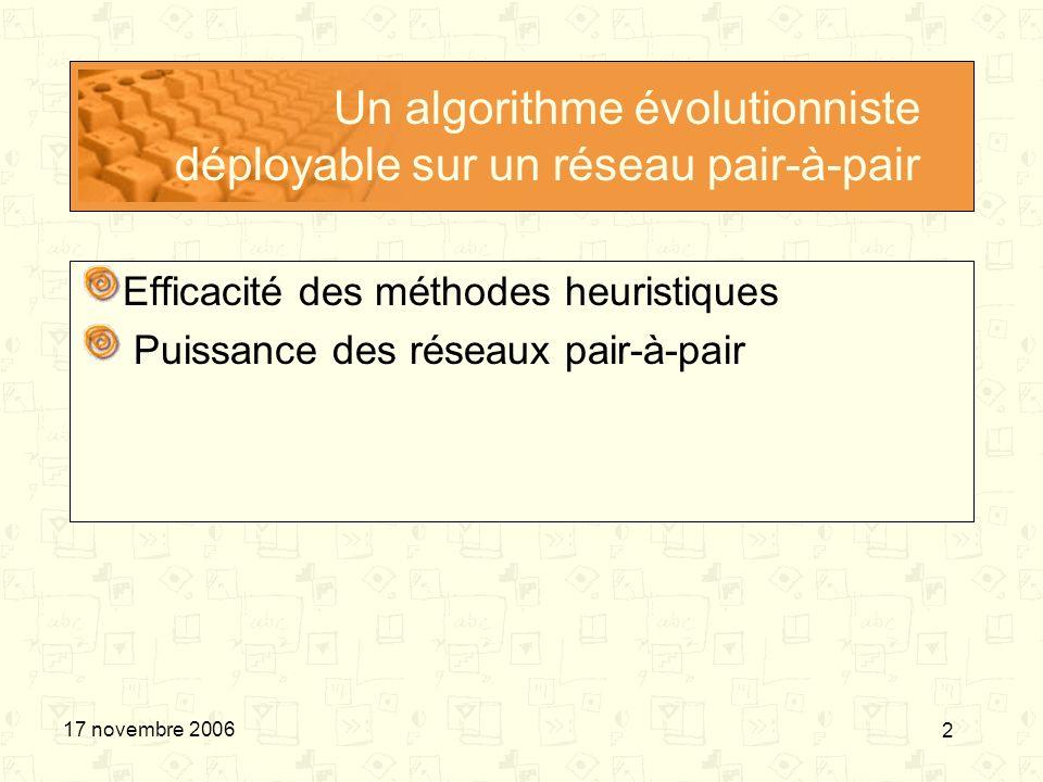 Un algorithme évolutionniste déployable sur un réseau pair-à-pair