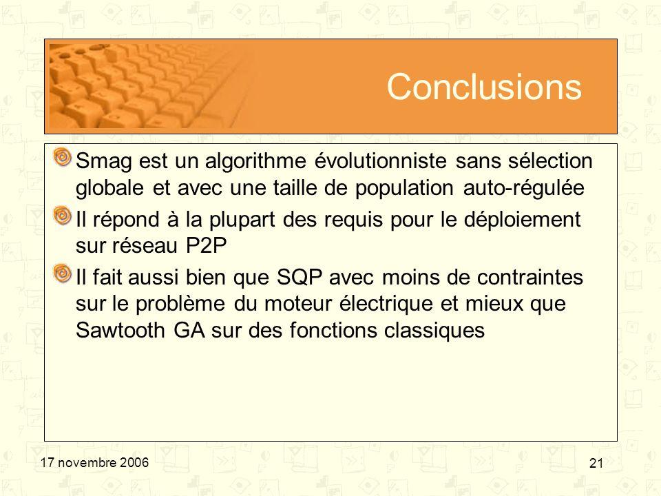 Conclusions Smag est un algorithme évolutionniste sans sélection globale et avec une taille de population auto-régulée.