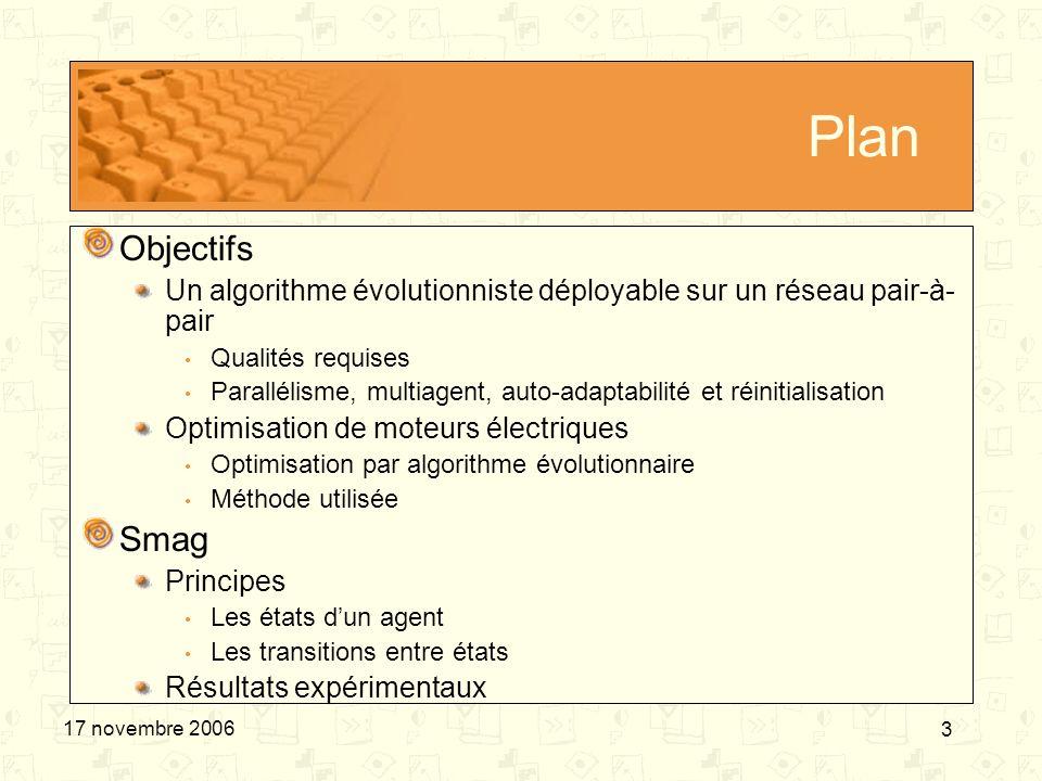 PlanObjectifs. Un algorithme évolutionniste déployable sur un réseau pair-à-pair. Qualités requises.