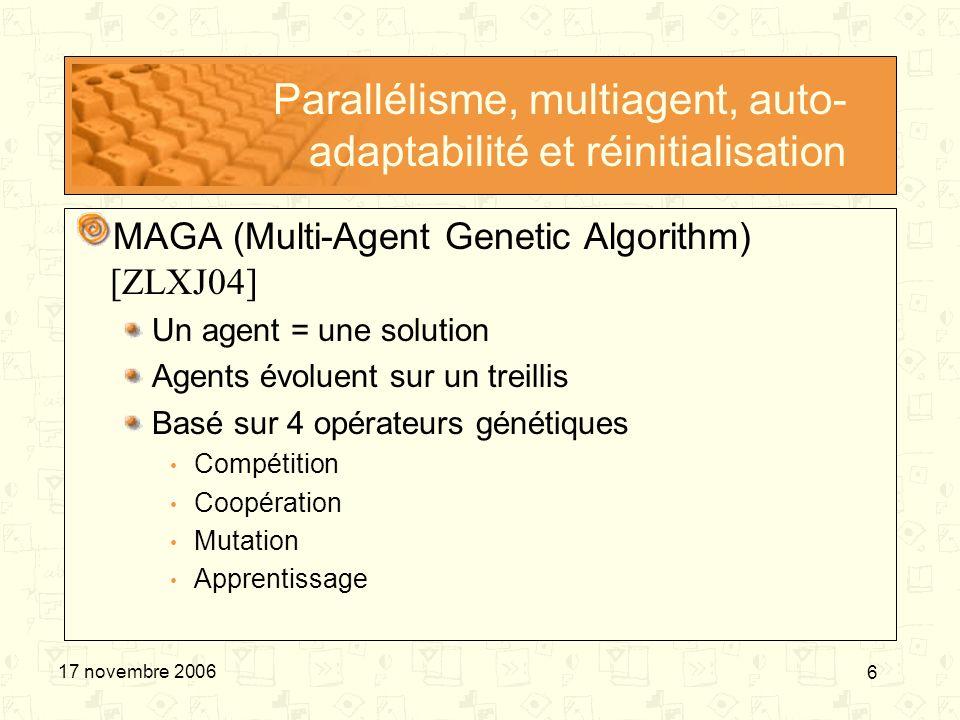 Parallélisme, multiagent, auto-adaptabilité et réinitialisation