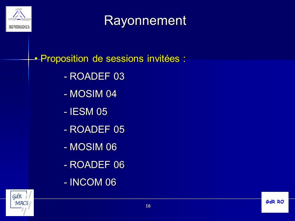 Rayonnement Proposition de sessions invitées : - ROADEF 03 - MOSIM 04