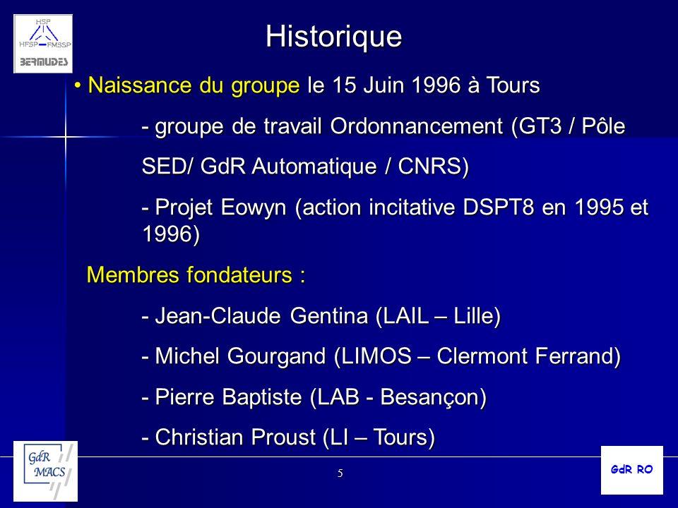 Historique Naissance du groupe le 15 Juin 1996 à Tours