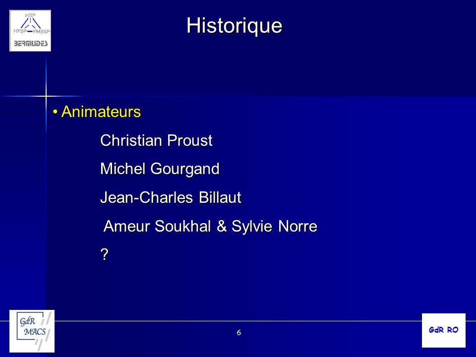 Historique Animateurs Christian Proust Michel Gourgand