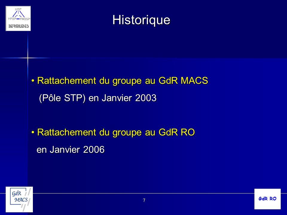 Historique Rattachement du groupe au GdR MACS