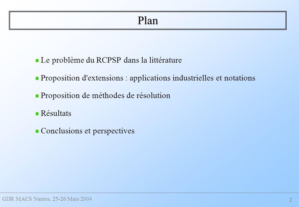 Plan Le problème du RCPSP dans la littérature