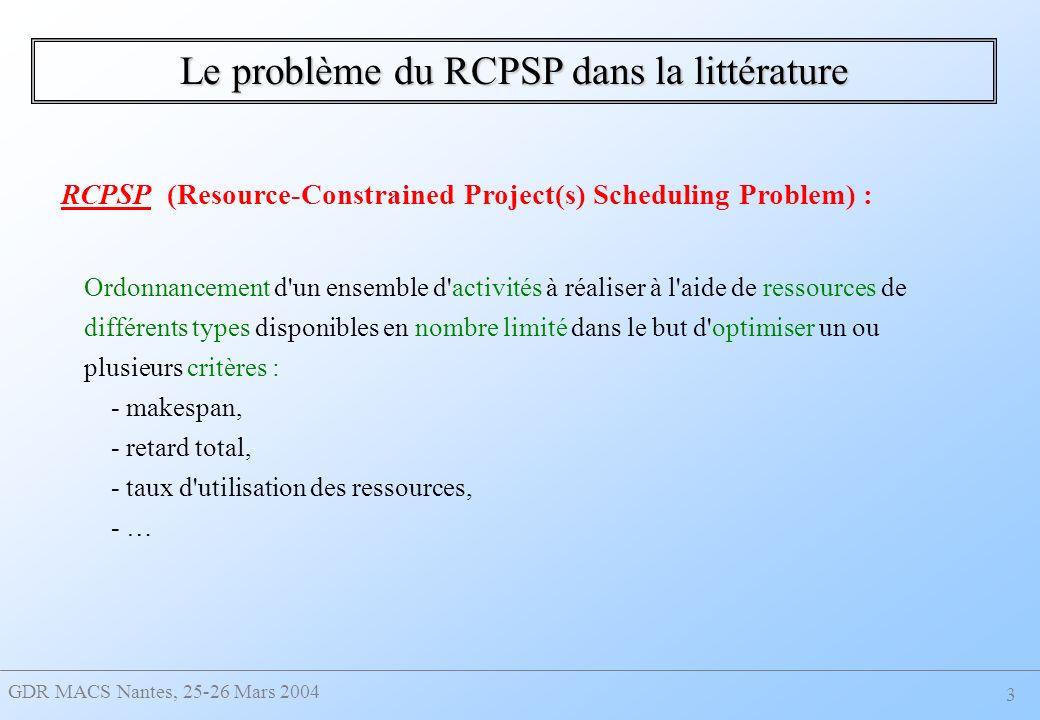 Le problème du RCPSP dans la littérature