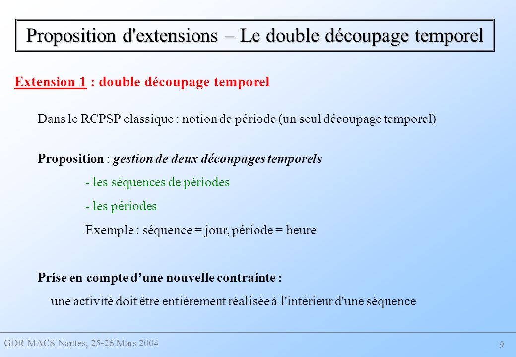 Proposition d extensions – Le double découpage temporel