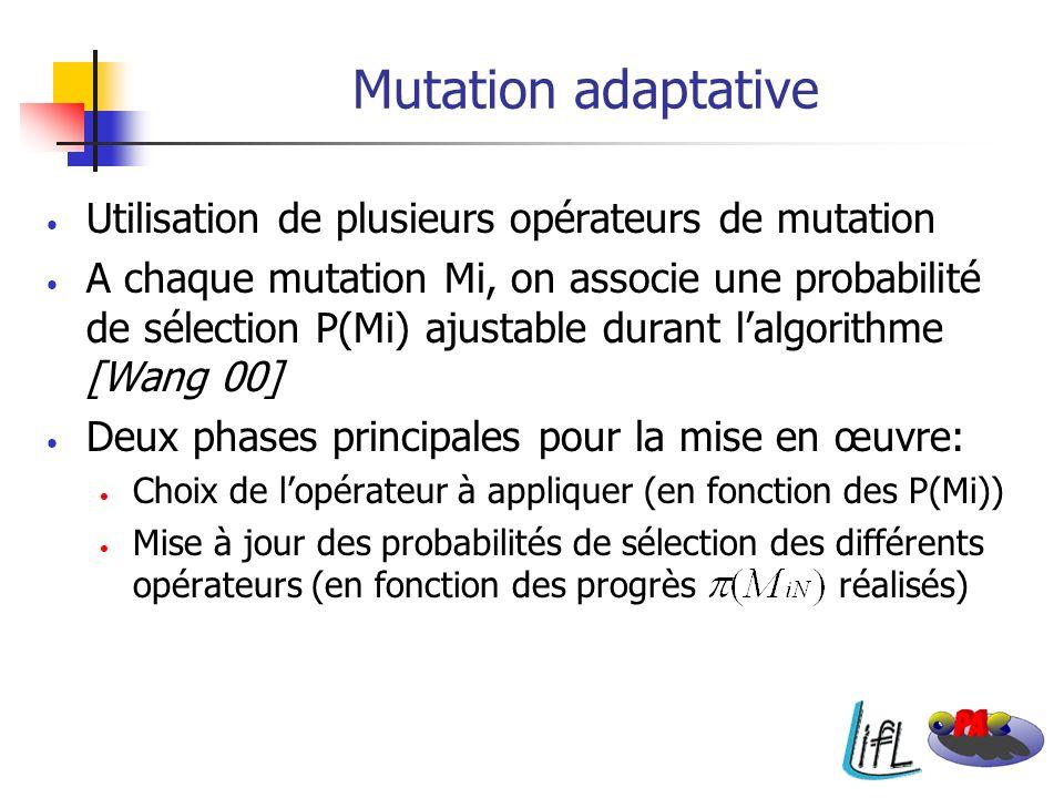 Mutation adaptative Utilisation de plusieurs opérateurs de mutation