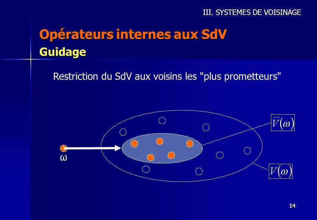 Opérateurs internes aux SdV