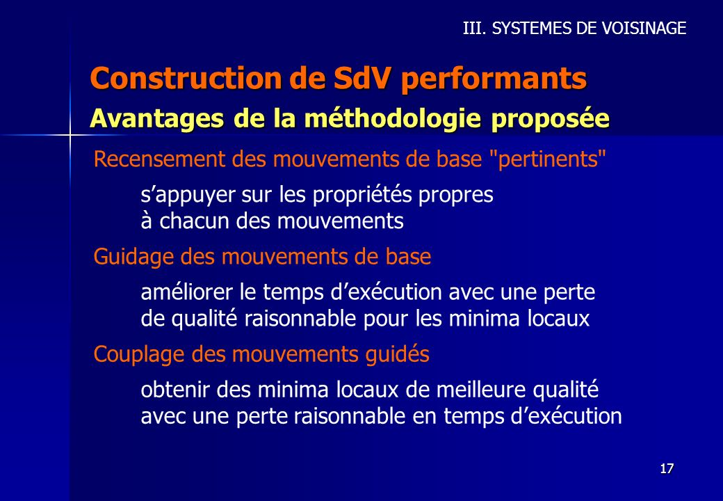 Construction de SdV performants