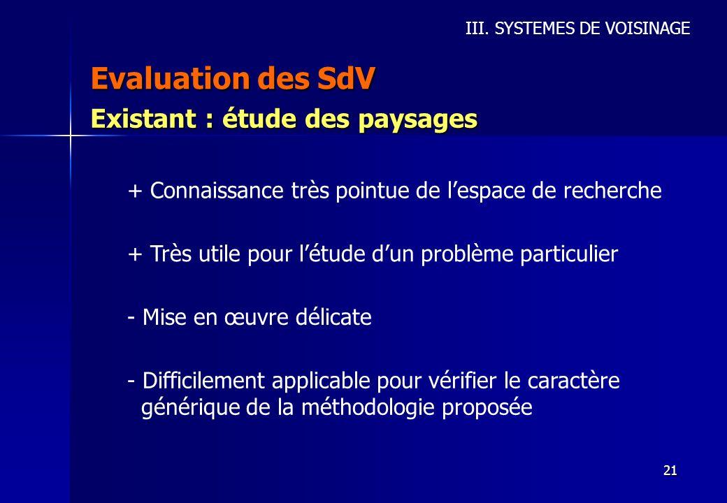 Evaluation des SdV Existant : étude des paysages