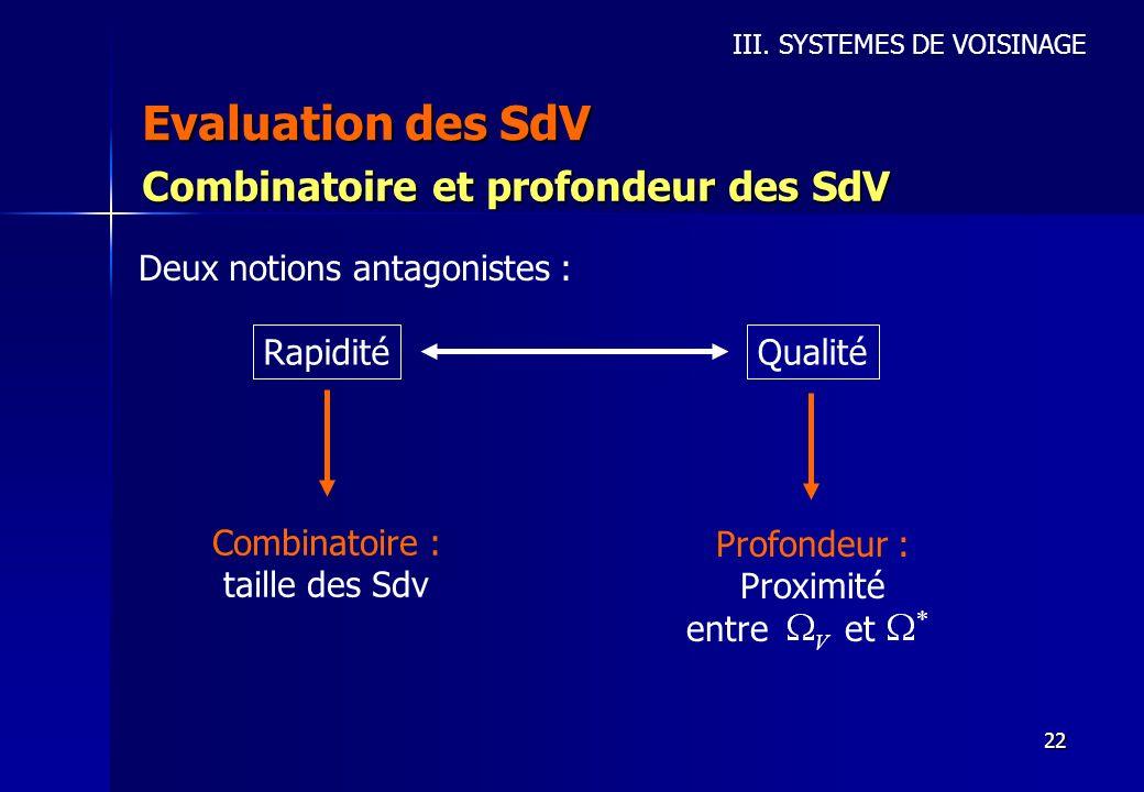 Evaluation des SdV Combinatoire et profondeur des SdV
