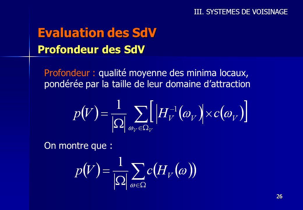 Evaluation des SdV Profondeur des SdV