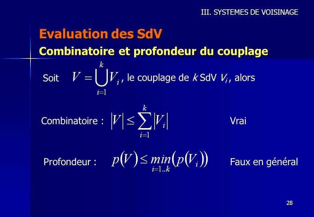 Evaluation des SdV Combinatoire et profondeur du couplage Soit