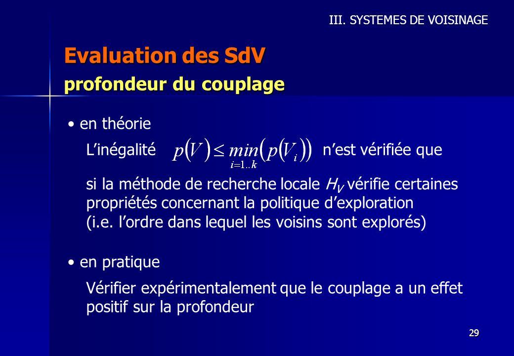 Evaluation des SdV profondeur du couplage en théorie L'inégalité