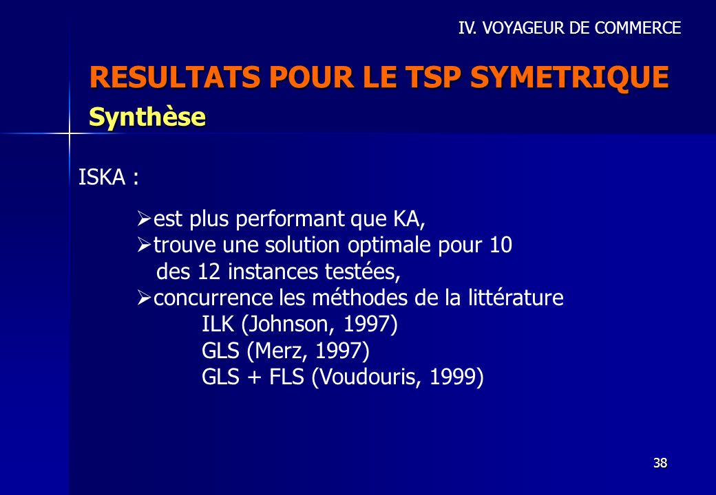 RESULTATS POUR LE TSP SYMETRIQUE