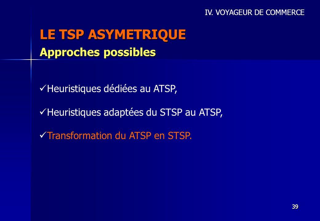LE TSP ASYMETRIQUE Approches possibles Heuristiques dédiées au ATSP,