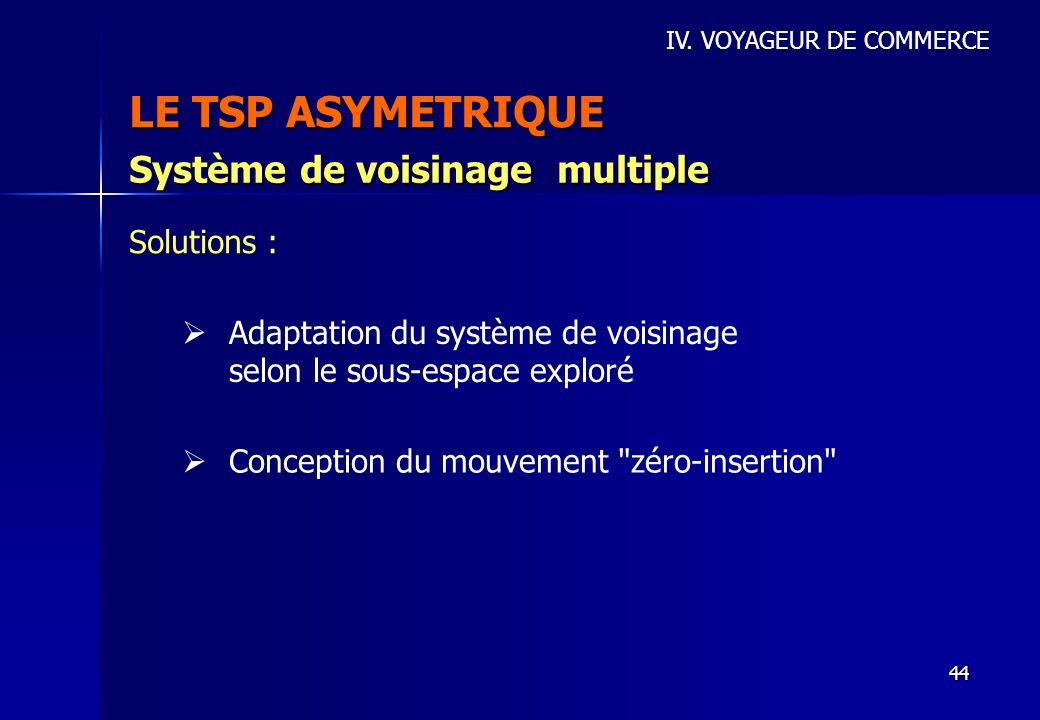LE TSP ASYMETRIQUE Système de voisinage multiple Solutions :