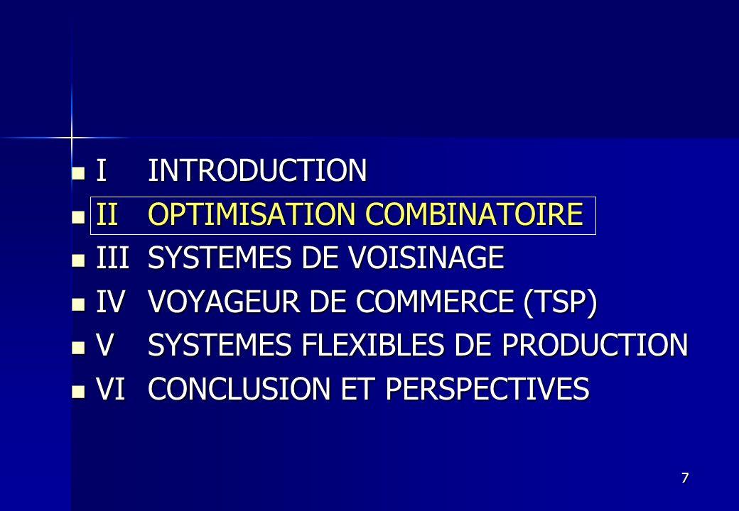 I INTRODUCTIONII OPTIMISATION COMBINATOIRE. III SYSTEMES DE VOISINAGE. IV VOYAGEUR DE COMMERCE (TSP)