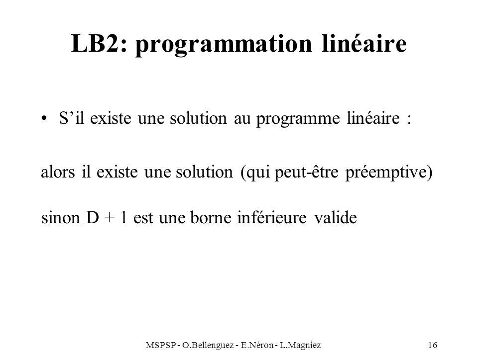 LB2: programmation linéaire