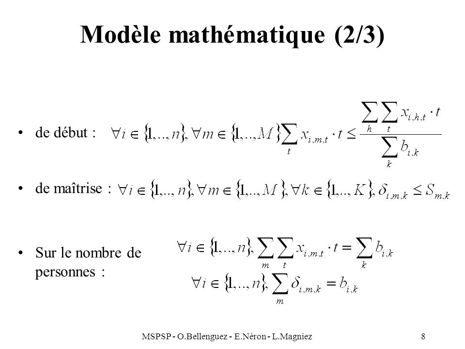 Modèle mathématique (2/3)