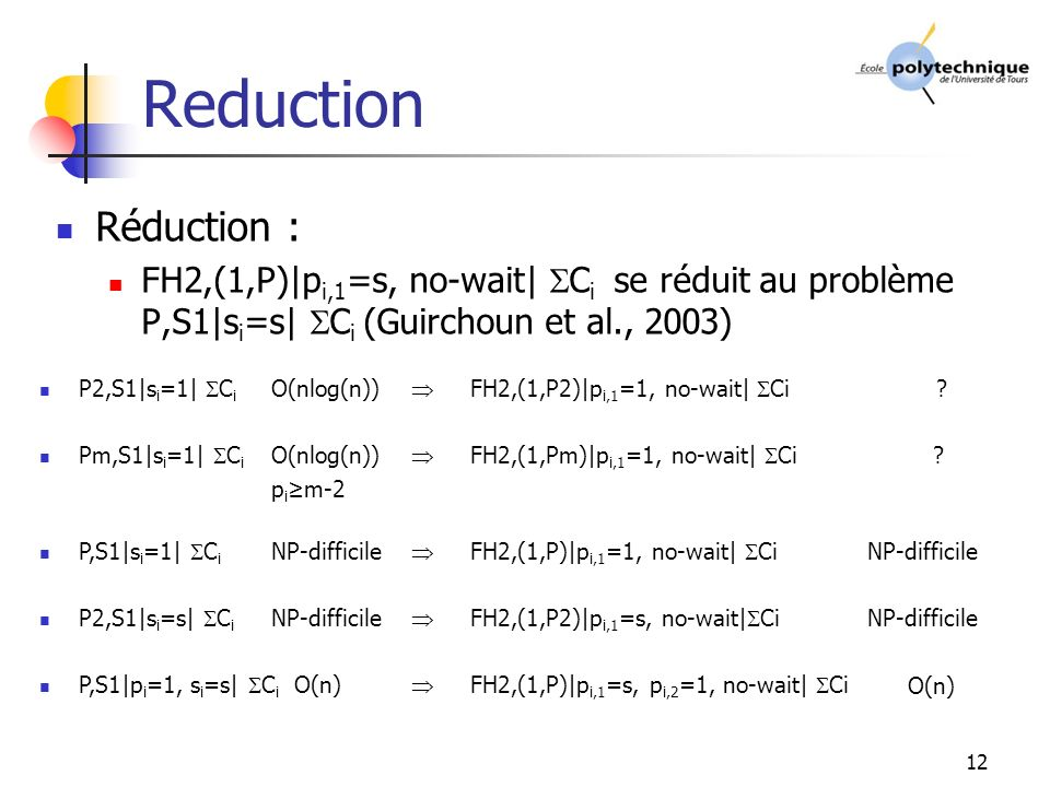 Reduction Réduction : FH2,(1,P)|pi,1=s, no-wait| Ci se réduit au problème P,S1|si=s| Ci (Guirchoun et al., 2003)