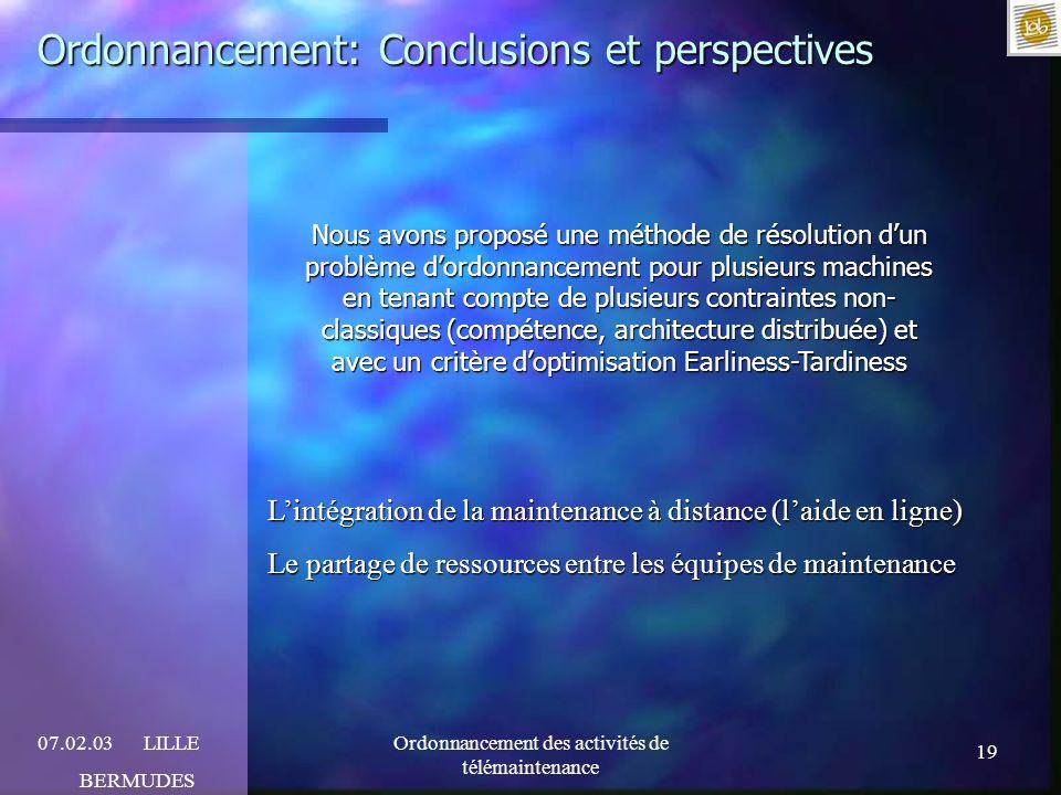 Ordonnancement: Conclusions et perspectives