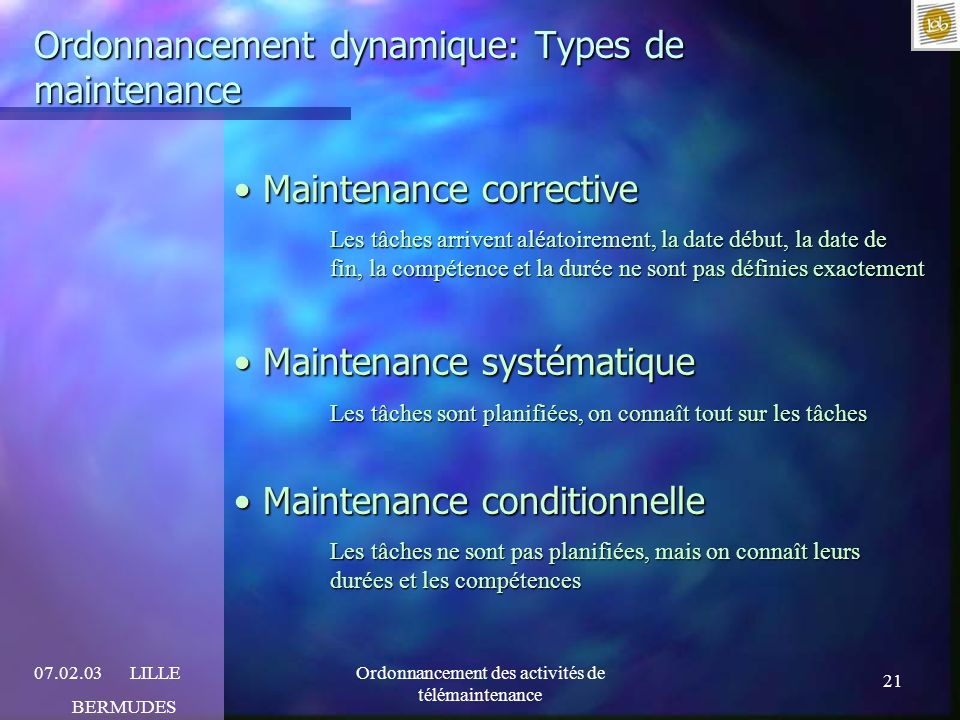 Ordonnancement dynamique: Types de maintenance