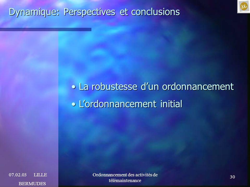 Dynamique: Perspectives et conclusions
