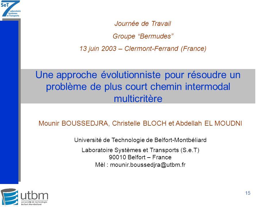 Journée de Travail Groupe Bermudes 13 juin 2003 – Clermont-Ferrand (France)