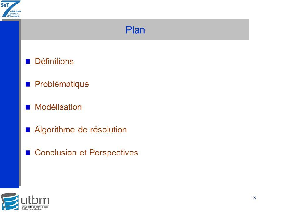 Plan Définitions Problématique Modélisation Algorithme de résolution