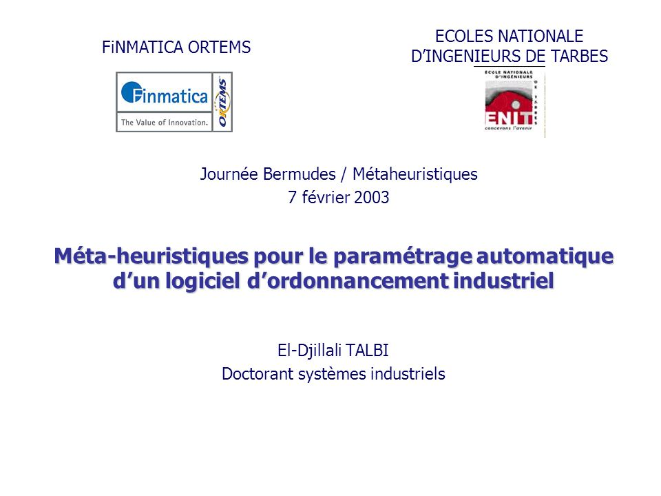 El-Djillali TALBI Doctorant systèmes industriels