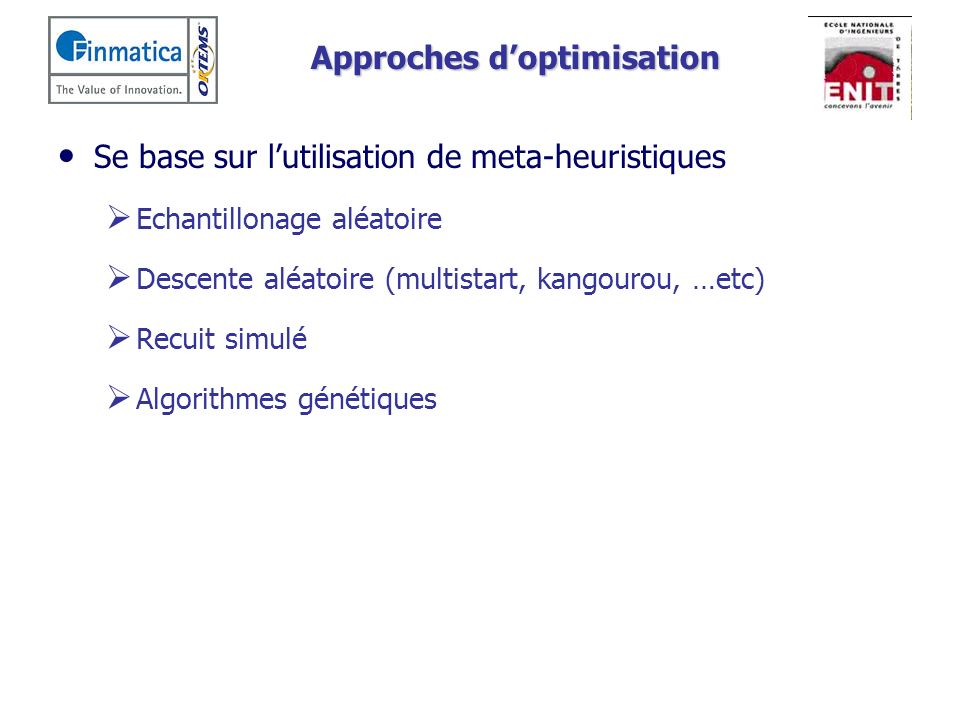 Approches d'optimisation