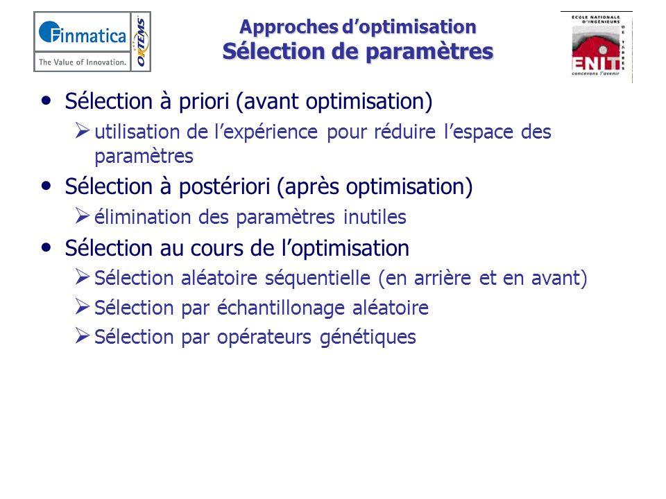 Approches d'optimisation Sélection de paramètres