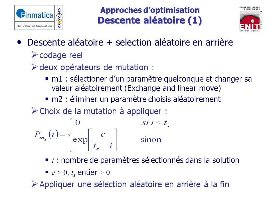 Approches d'optimisation Descente aléatoire (1)