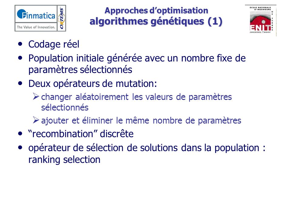 Approches d'optimisation algorithmes génétiques (1)