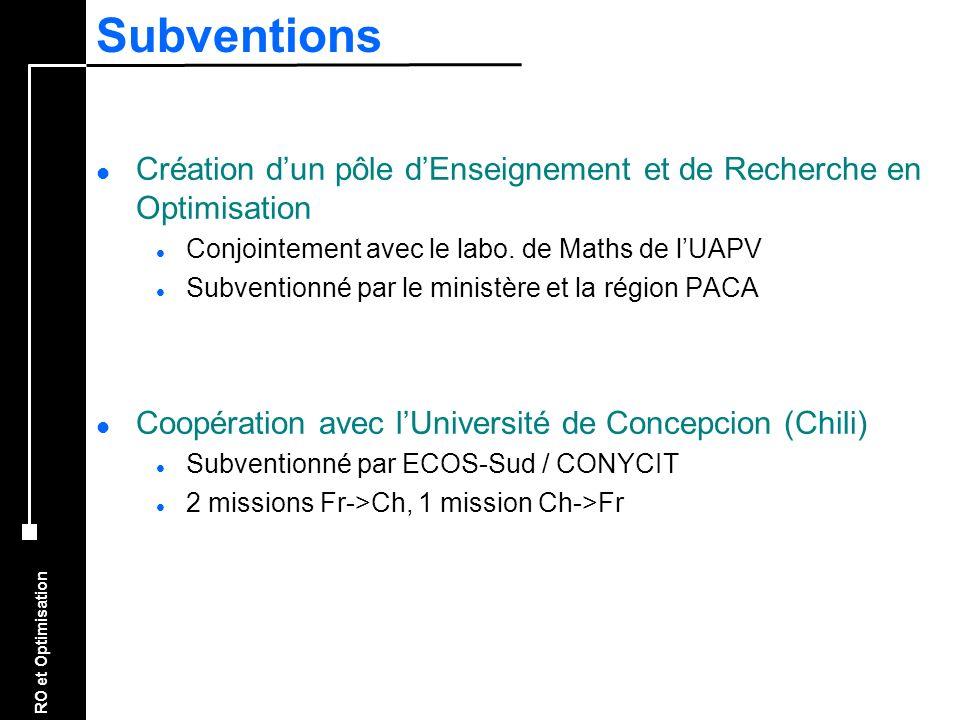 Subventions Création d'un pôle d'Enseignement et de Recherche en Optimisation. Conjointement avec le labo. de Maths de l'UAPV.