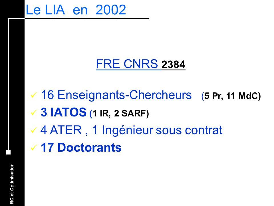 Le LIA en 2002 FRE CNRS 2384 16 Enseignants-Chercheurs (5 Pr, 11 MdC)