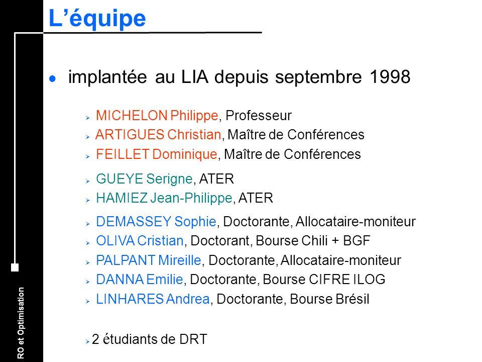 L'équipe implantée au LIA depuis septembre 1998