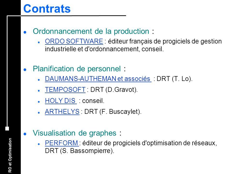 Contrats Ordonnancement de la production :