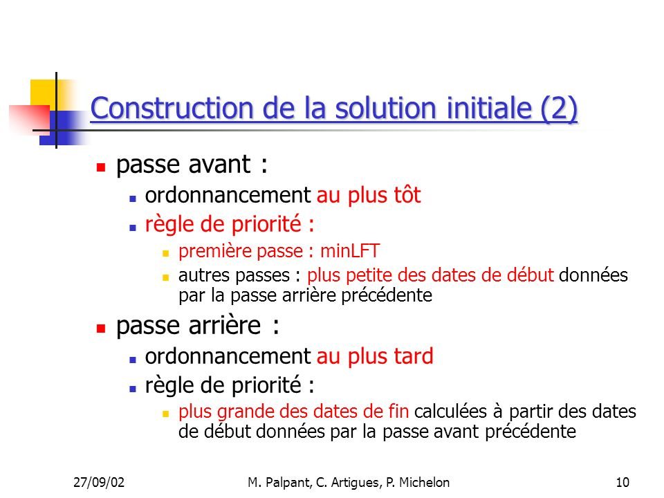 Construction de la solution initiale (2)
