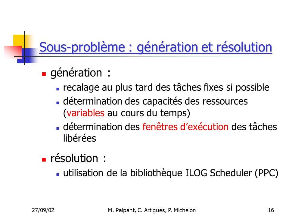 Sous-problème : génération et résolution