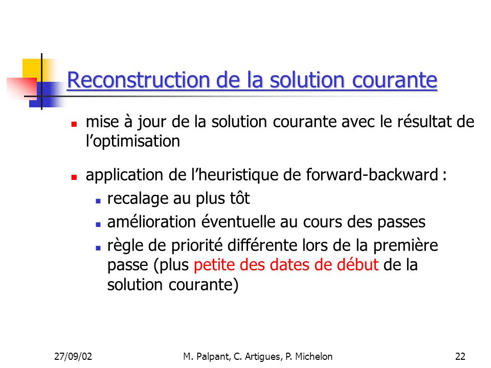 Reconstruction de la solution courante