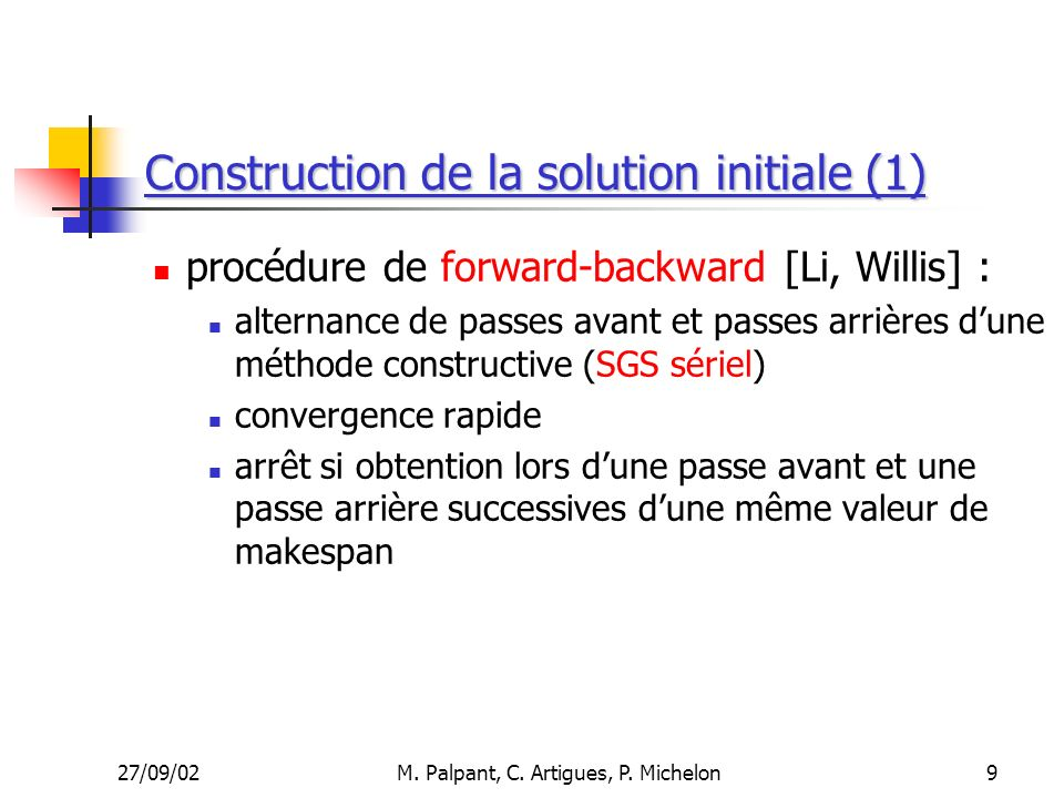 Construction de la solution initiale (1)