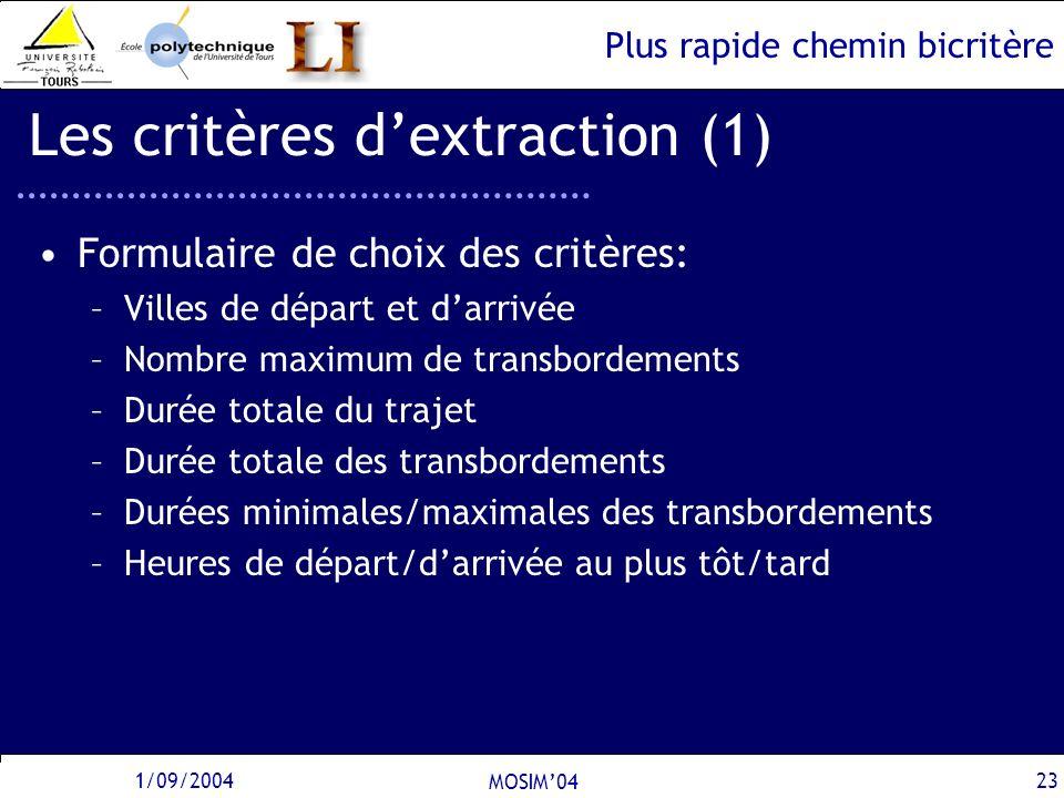 Les critères d'extraction (1)