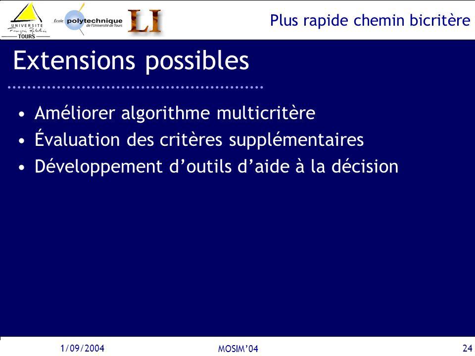Extensions possibles Améliorer algorithme multicritère