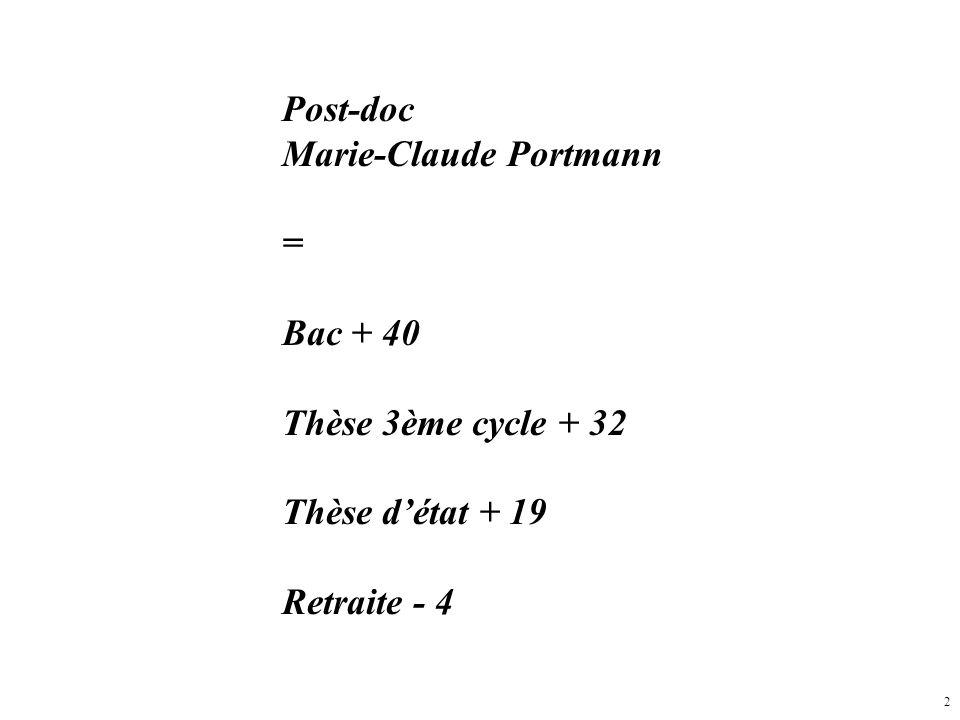 Post-doc Marie-Claude Portmann = Bac + 40 Thèse 3ème cycle + 32 Thèse d'état + 19 Retraite - 4