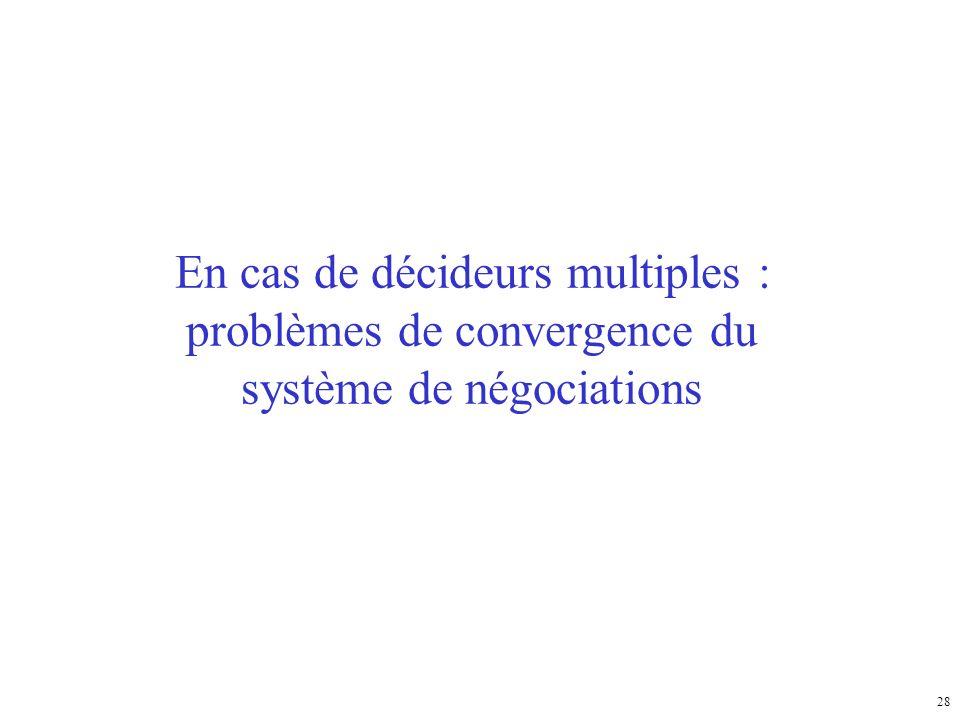 En cas de décideurs multiples : problèmes de convergence du système de négociations